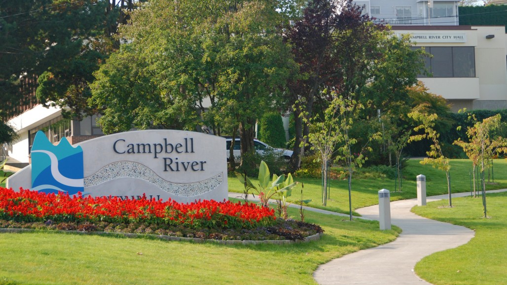 sign design city hall landscape campbell river bc