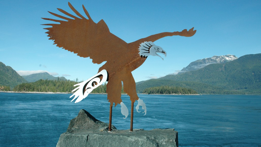 corten steel cnc bald eagle sculpture